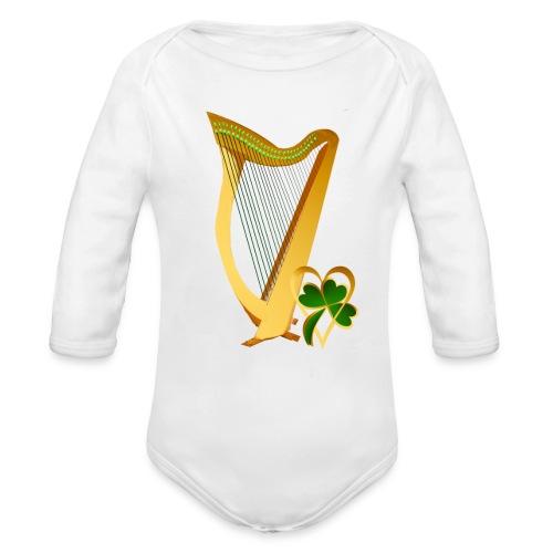 Celtic Irish gold Harp - Organic Long Sleeve Baby Bodysuit