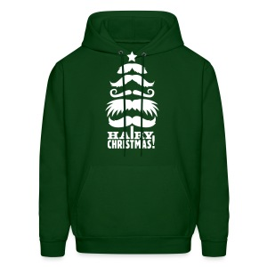 Hairy Christmas - Moustache  Hoody White on Green - Men's Hoodie