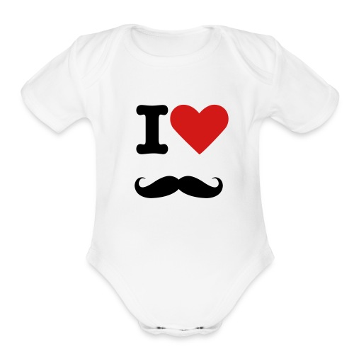 I Heart Mustaches - Baby's One-Piece  - Organic Short Sleeve Baby Bodysuit