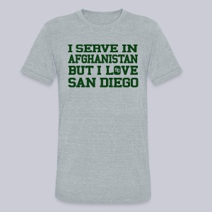 Serve Afghanistan Love San Diego - Unisex Tri-Blend T-Shirt by American Apparel