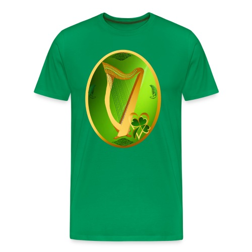Irish Celtic Harp Oval - Men's Premium T-Shirt