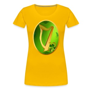 Irish Celtic Harp Oval - Women's Premium T-Shirt
