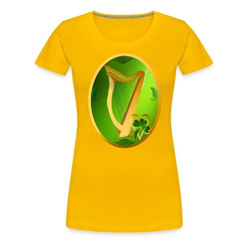 Irish Celtic Harp Oval - Women's Premium T-Shirt