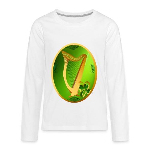 Irish Celtic Harp Oval - Kids' Premium Long Sleeve T-Shirt
