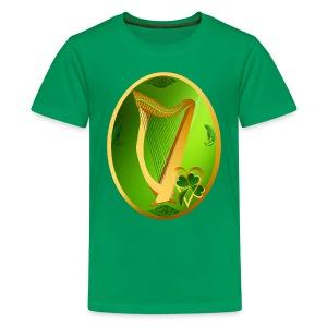 Irish Celtic Harp Oval - Kids' Premium T-Shirt