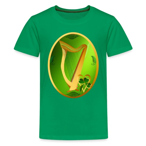 Irish Celtic Harp Oval - Kids' Premium T-Shirt