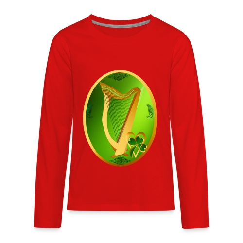 Irish Celtic Harp Oval - Kids' Premium Long Sleeve T-Shirt