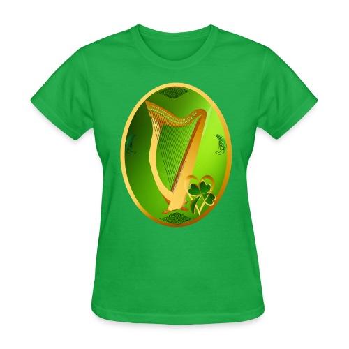 Irish Celtic Harp Oval - Women's T-Shirt