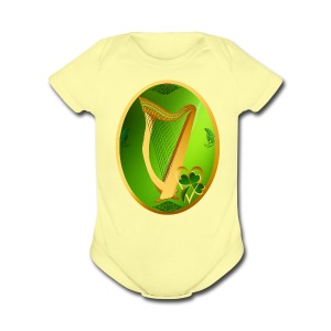 Irish Celtic Harp Oval - Short Sleeve Baby Bodysuit