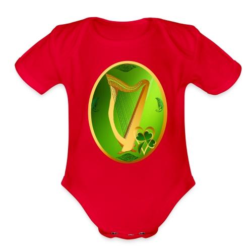 Irish Celtic Harp Oval - Organic Short Sleeve Baby Bodysuit