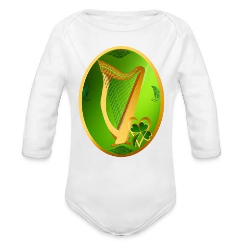 Irish Celtic Harp Oval - Organic Long Sleeve Baby Bodysuit