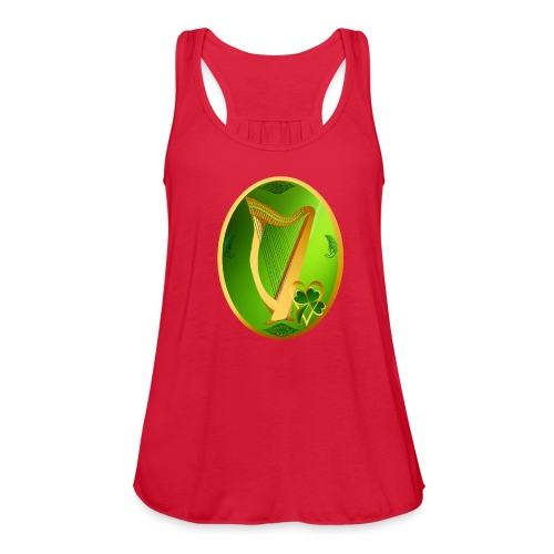 Irish Celtic Harp Oval - Women's Flowy Tank Top by Bella