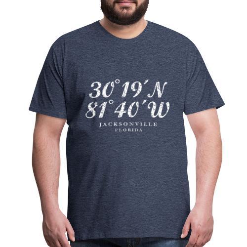 Jacksonville, Florida Coordinates T-Shirt (Ancient White) - Men's Premium T-Shirt