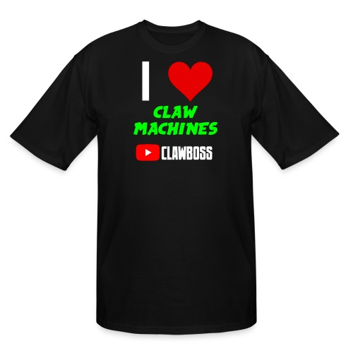 I Love Claw Machines ClawBoss BIG & TALL Tee (Green Lettering) - Men's Tall T-Shirt
