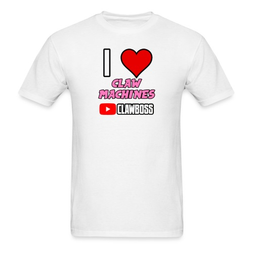 I Love Claw Machines (Pink) ClawBoss T Shirt (Black Outline) - Men's T-Shirt