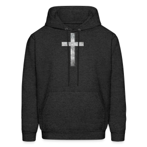 Men's Hoodie Gray Grunge Cross Hot! - Men's Hoodie