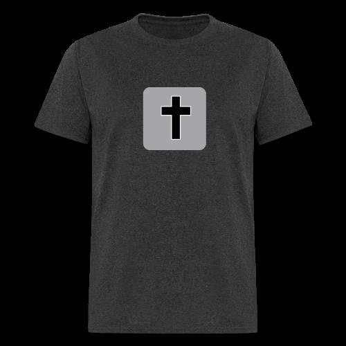 Men's T-Shirt Black Cross Gray Square - Men's T-Shirt