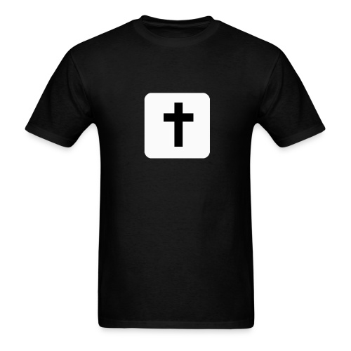 Men's T-Shirt Black Cross White Square - Men's T-Shirt