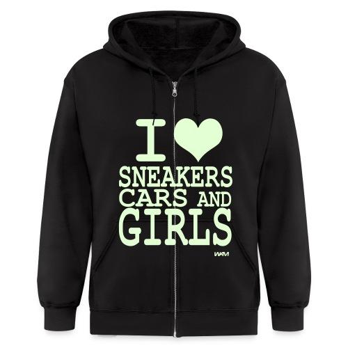 I Heart Sneakers, Cars, and Girls Jacket - Men's Zip Hoodie