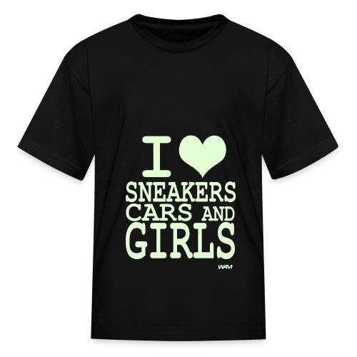 I Heart Sneakers, Cars, and Girls Kids - Kids' T-Shirt