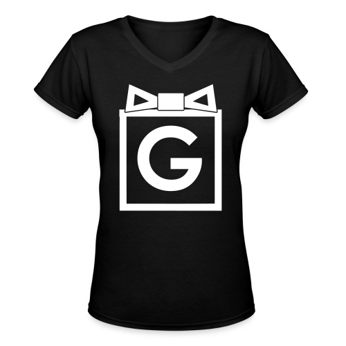 Gifted Bow Hoodie - White Ink Ladies V neck - Women's V-Neck T-Shirt