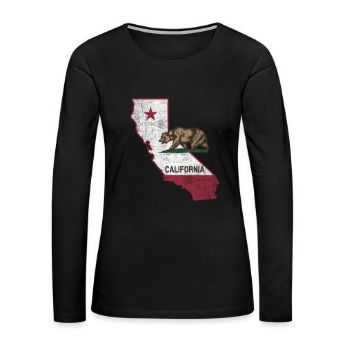 California State Map - Cali Bear - Women's Premium Long Sleeve T-Shirt