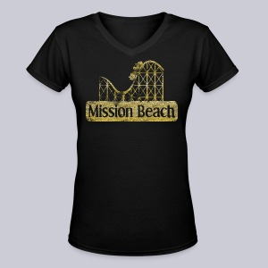 Vintage Mission Beach - Women's V-Neck T-Shirt