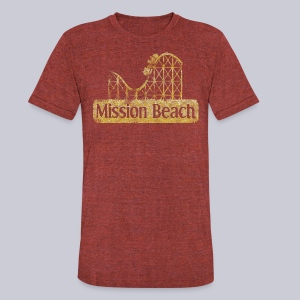 Vintage Mission Beach - Unisex Tri-Blend T-Shirt by American Apparel