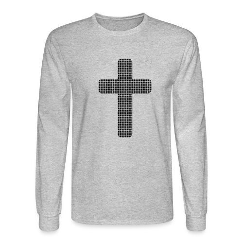Men's Long Sleeve T-Shirt Black Woven Cross - Men's Long Sleeve T-Shirt