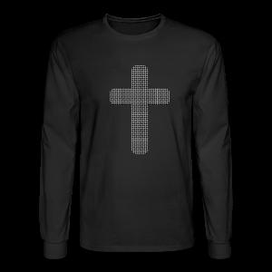 Men's Long Sleeve T-Shirt Black Gray Weave Cross - Men's Long Sleeve T-Shirt