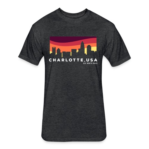 Charlotte USA Skyline - Fitted Cotton/Poly T-Shirt by Next Level