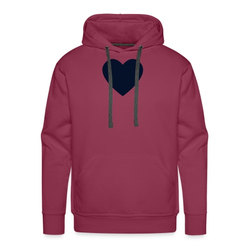 Black Glitz Heart on Burgundy - Men's Premium Hoodie