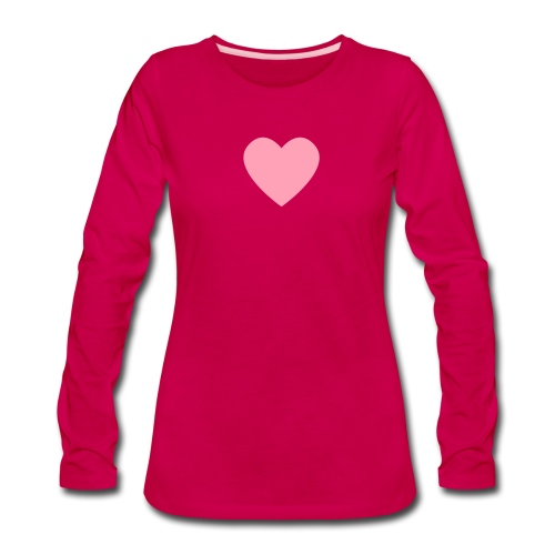 Pink Heart on Dark Pink - Women's Premium Long Sleeve T-Shirt