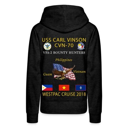 VFA-2 w/ USS CARL VINSON 2018 WOMENS CRUISE HOODIE - Women's Premium Hoodie