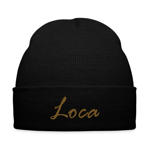 Black/Gold Glitz Loca Cuffed Beanie - Knit Cap with Cuff Print