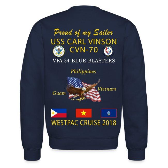 VFA-34 w/ USS CARL VINSON 2018 CRUISE SWEATSHIRT - FAMILY