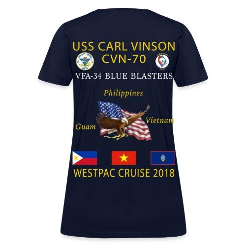 VFA-34 w/ USS CARL VINSON 2018 WOMENS CRUISE SHIRT - Women's T-Shirt