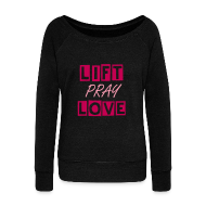 Long Sleeve Shirts ~ Women's Wideneck Sweatshirt ~ liftpraylove off the shoulder sweatshirt