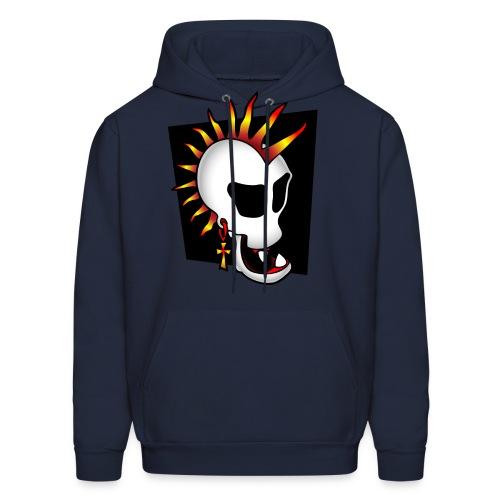 Punk Skull Hoodie, Pixel - Men's Hoodie