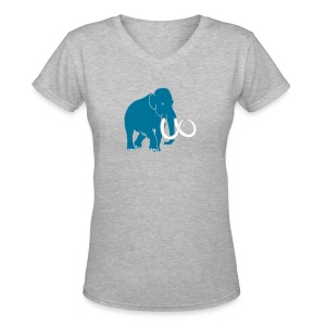 animal t-shirt mammoth elephant tusk ice age mammut - Women's V-Neck T-Shirt