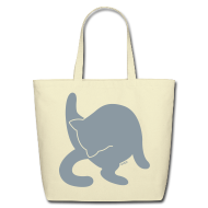 Bags & backpacks ~ Eco-Friendly Cotton Tote ~ Bathing Kitty (Metallic Silver)