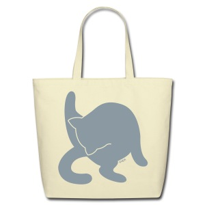 Bathing Kitty (Metallic Silver) - Eco-Friendly Cotton Tote