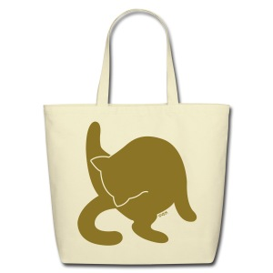 Bathing Kitty (Metallic Gold) - Eco-Friendly Cotton Tote