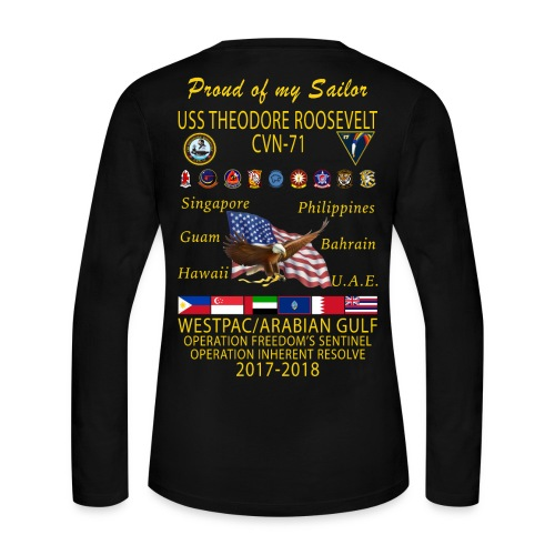 USS THEODORE ROOSEVELT 2017-18 WOMENS LONG SLEEVE CRUISE SHIRT - FAMILY - Women's Long Sleeve Jersey T-Shirt