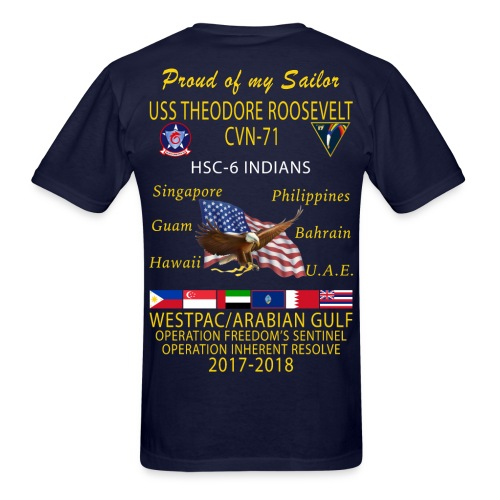 HSC-6 w/ USS THEODORE ROOSEVELT 2017-18 CRUISE SHIRT - FAMILY - Men's T-Shirt