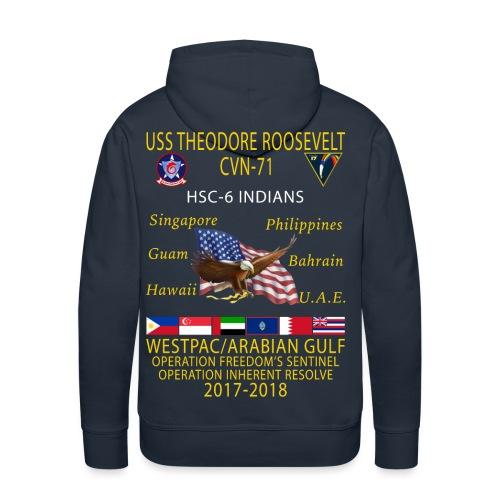 HSC-6 w/ USS THEODORE ROOSEVELT 2017-18 CRUISE HOODIE  - Men's Premium Hoodie