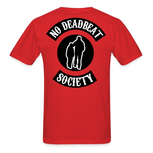 No Deadbeat Society Black On Red Back Rocker - Men's T-Shirt