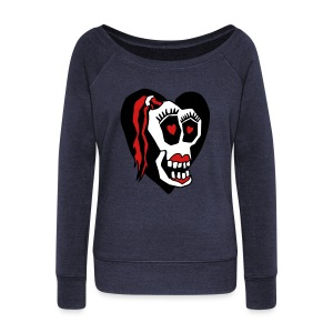 Skull Girl LOVE Sweatshirt - Women's Wideneck Sweatshirt