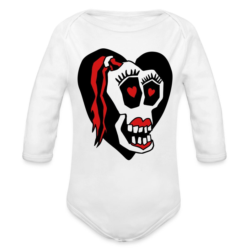 Skull Girl LOVE Baby One piece - Long Sleeve Baby Bodysuit