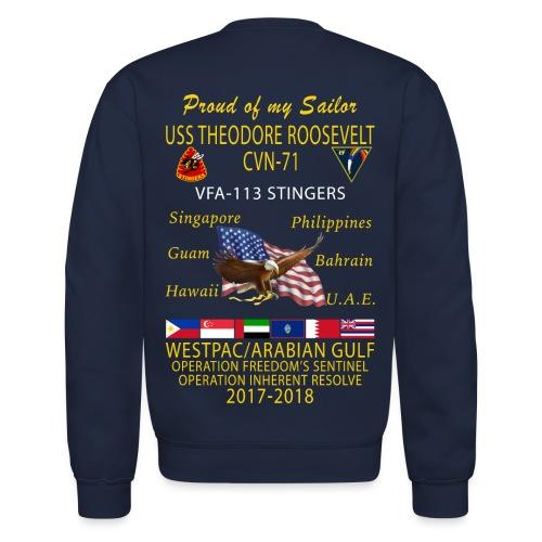 VFA-113 w/ USS THEODORE ROOSEVELT 2017-18 CRUISE SWEATSHIRT - FAMILY - Crewneck Sweatshirt